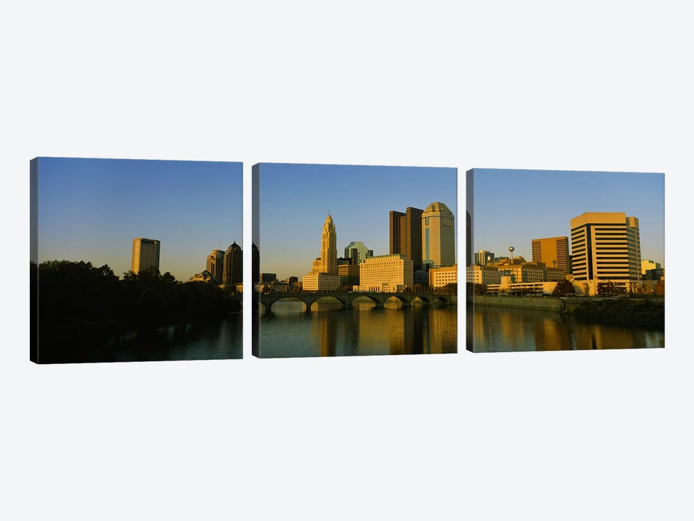 High angle view of buildings at the waterfront, Columbus, Ohio, USA by Panoramic Images 3-piece Canvas Art