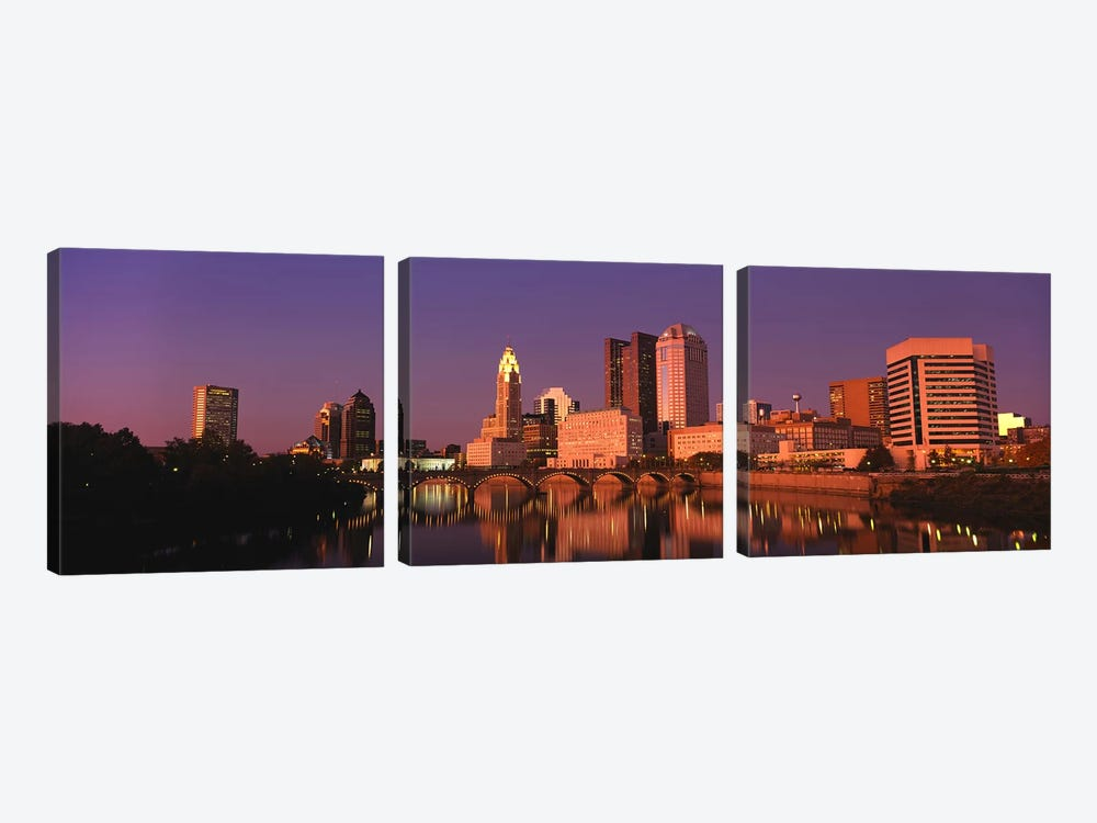 Buildings at the waterfront, Columbus, Ohio, USA by Panoramic Images 3-piece Art Print