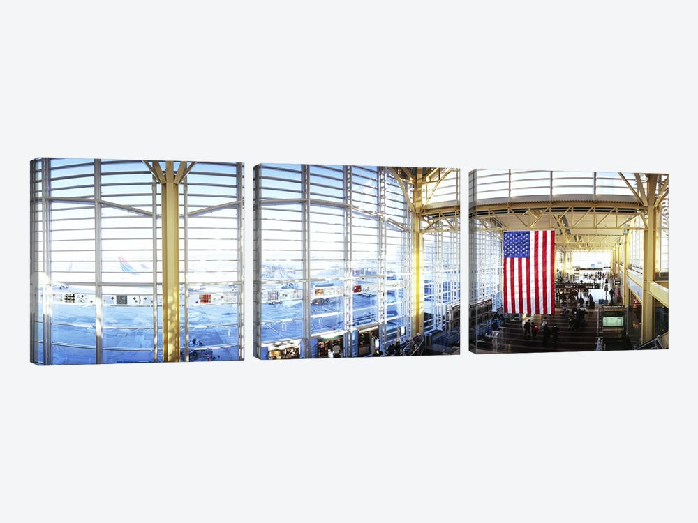 Interior of an airport, Ronald Reagan Washington National Airport, Washington DC, USA by Panoramic Images 3-piece Canvas Artwork