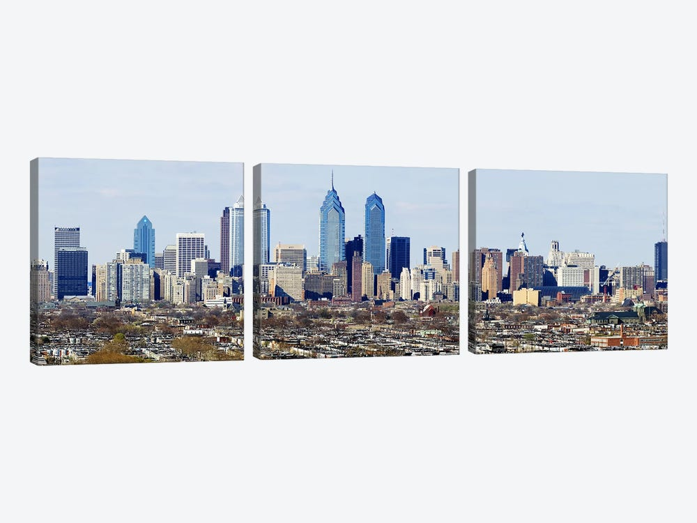 Skyscrapers in a city, Philadelphia, Pennsylvania, USA #4 by Panoramic Images 3-piece Canvas Print