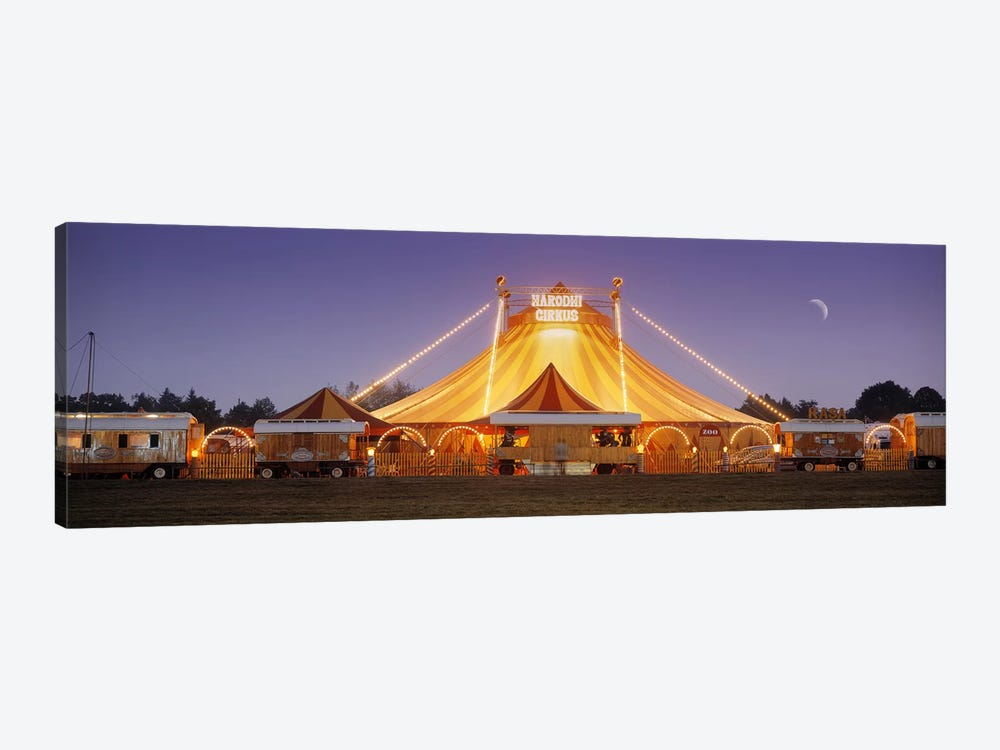 An Illuminated Big Top At Dusk, Narodni Cirkus, Prague, Czech Republic by Panoramic Images 1-piece Canvas Art Print
