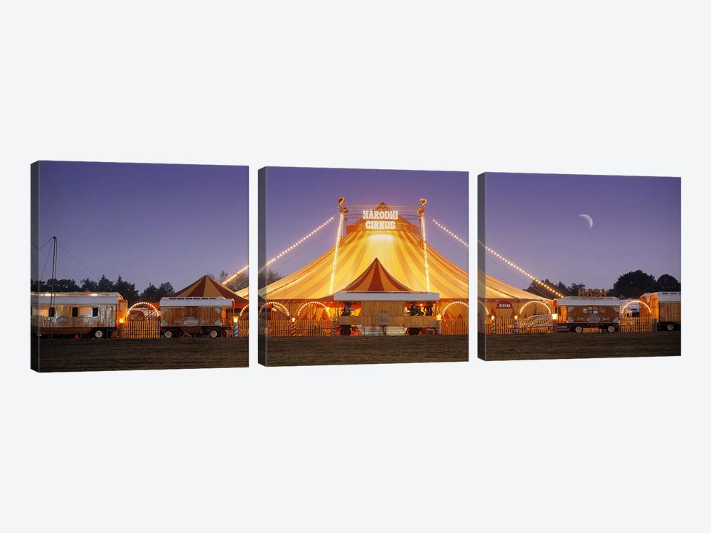 An Illuminated Big Top At Dusk, Narodni Cirkus, Prague, Czech Republic by Panoramic Images 3-piece Canvas Art Print