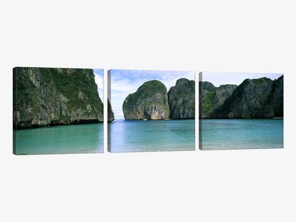 Limestone Cliffs, Maya Bay, Ko Phi Phi Leh, Phi Phi Islands, Krabi Province, Thailand by Panoramic Images 3-piece Canvas Wall Art