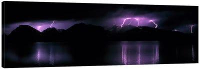 Teton Range w/lightning Grand Teton National Park WY USA Canvas Print #PIM537