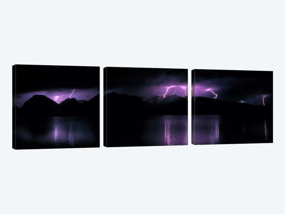 Teton Range w/lightning Grand Teton National Park WY USA by Panoramic Images 3-piece Canvas Wall Art