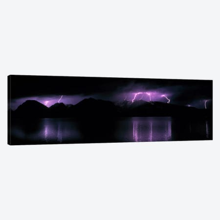 Teton Range w/lightning Grand Teton National Park WY USA Canvas Print #PIM537} by Panoramic Images Art Print