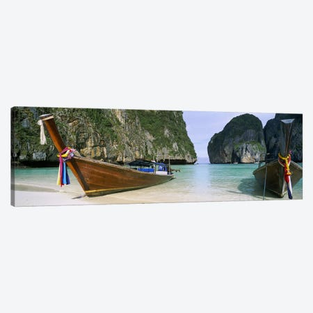 Moored Longtail Boats, Maya Bay, Ko Phi Phi Le, Phi Phi Islands, Krabi Province, Thailand Canvas Print #PIM5382} by Panoramic Images Canvas Art Print