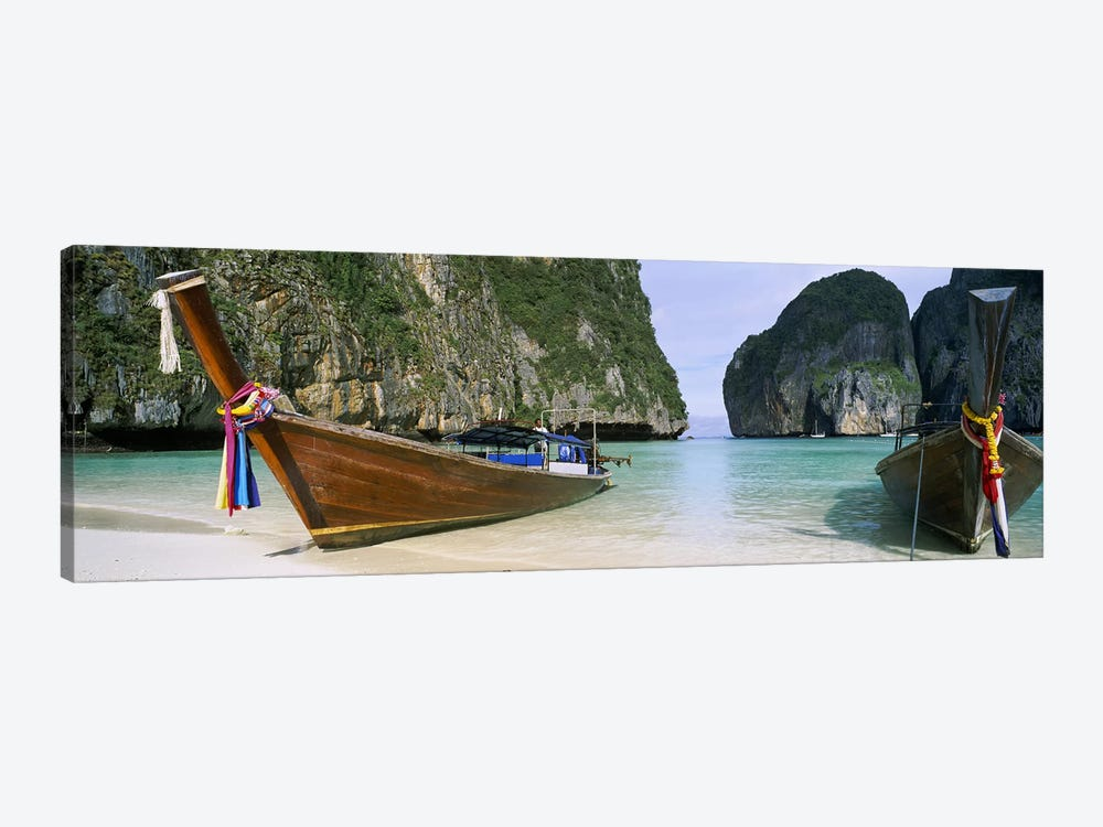 Moored Longtail Boats, Maya Bay, Ko Phi Phi Le, Phi Phi Islands, Krabi Province, Thailand by Panoramic Images 1-piece Canvas Wall Art