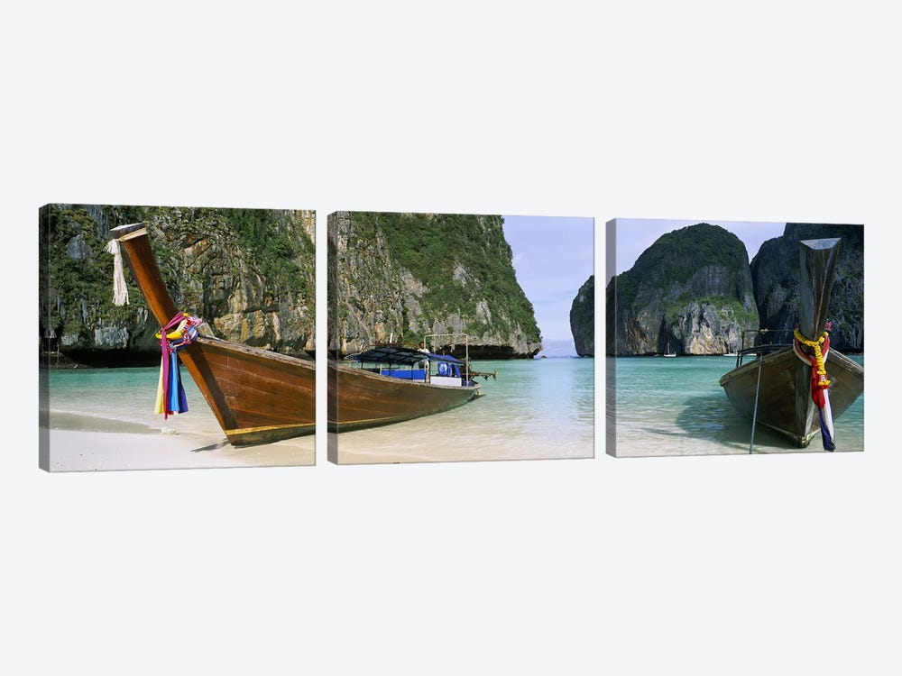 Moored Longtail Boats, Maya Bay, Ko Phi Phi Le, Phi Phi Islands, Krabi Province, Thailand by Panoramic Images 3-piece Canvas Art
