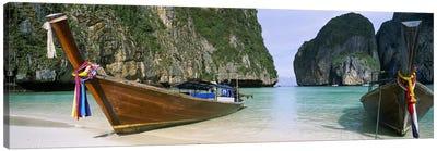 Moored Longtail Boats, Maya Bay, Ko Phi Phi Le, Phi Phi Islands, Krabi Province, Thailand Canvas Art Print