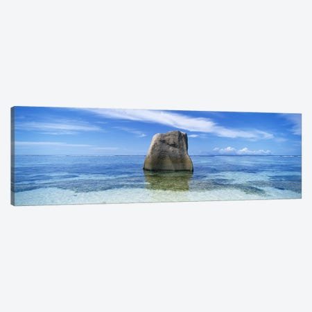 Boulder in the sea, Anse Source D'argent Beach, La Digue Island, Seychelles Canvas Print #PIM5385} by Panoramic Images Canvas Art
