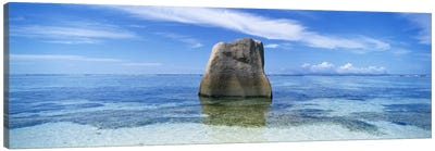 Boulder in the sea, Anse Source D'argent Beach, La Digue Island, Seychelles Canvas Print #PIM5385
