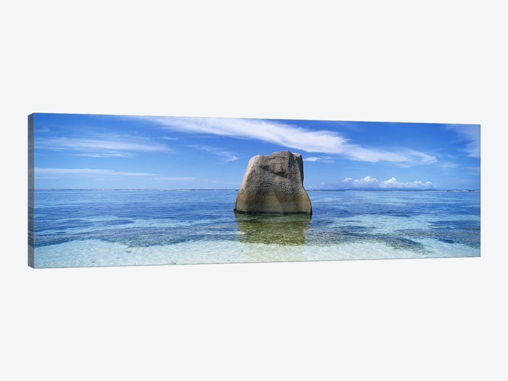 Boulder in the sea, Anse Source D'argent Beach, La Digue Island, Seychelles by Panoramic Images 1-piece Canvas Print