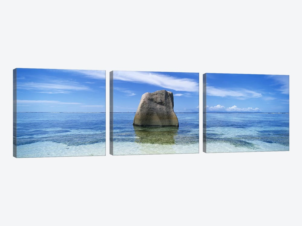 Boulder in the sea, Anse Source D'argent Beach, La Digue Island, Seychelles by Panoramic Images 3-piece Art Print