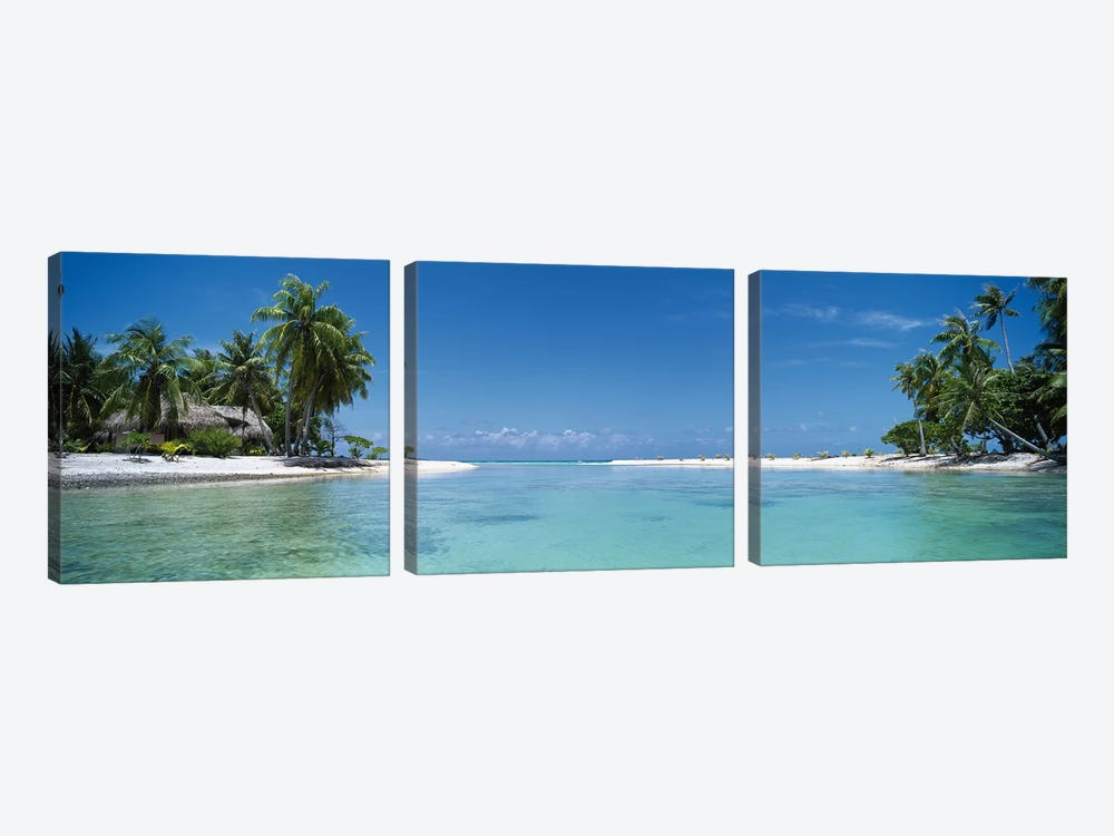 Tropical Landscape, Tikehau, Palliser Islands, French Polynesia by Panoramic Images 3-piece Canvas Art