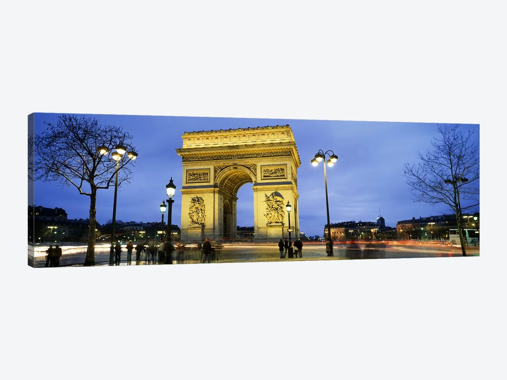 Tourists walking in front of a monument, Arc de Triomphe, Paris, France by Panoramic Images 1-piece Canvas Print