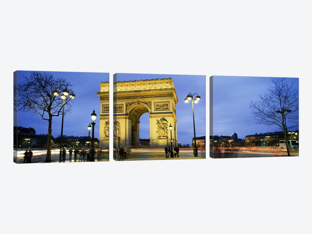 Tourists walking in front of a monument, Arc de Triomphe, Paris, France by Panoramic Images 3-piece Canvas Art Print