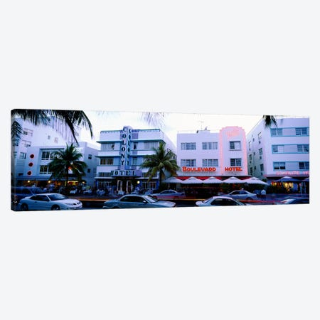 Traffic on road in front of hotels, Ocean Drive, Miami, Florida, USA Canvas Print #PIM5392} by Panoramic Images Canvas Artwork