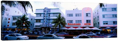 Traffic on road in front of hotels, Ocean Drive, Miami, Florida, USA Canvas Art Print