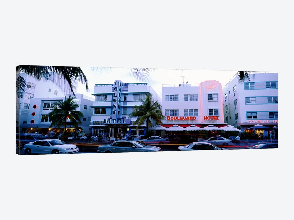 Traffic on road in front of hotels, Ocean Drive, Miami, Florida, USA by Panoramic Images 1-piece Art Print