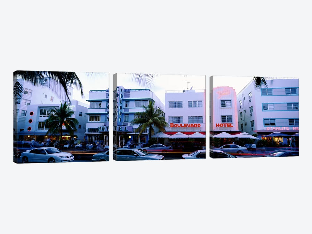 Traffic on road in front of hotels, Ocean Drive, Miami, Florida, USA by Panoramic Images 3-piece Canvas Art Print