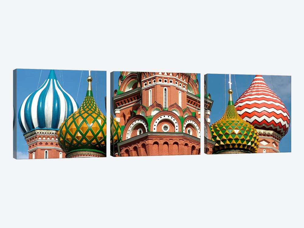 Mid section view of a cathedral, St. Basil's Cathedral, Red Square, Moscow, Russia by Panoramic Images 3-piece Canvas Wall Art