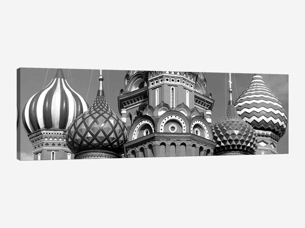 Mid section view of a cathedral, St. Basil's Cathedral, Red Square, Moscow, Russia (black & white) by Panoramic Images 1-piece Canvas Artwork
