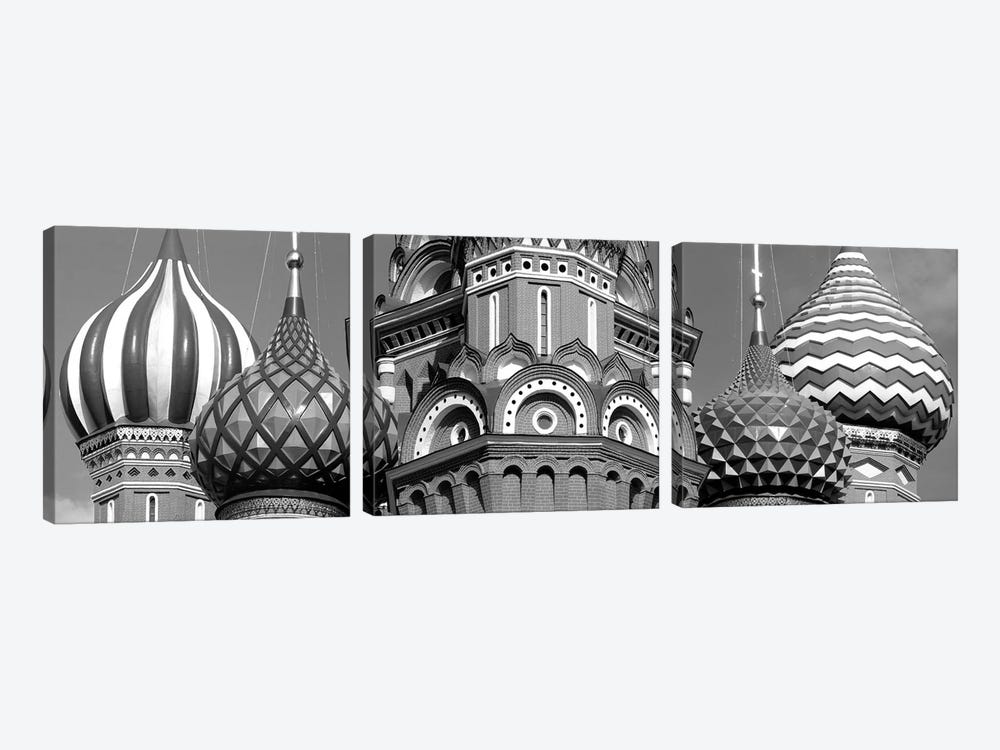 Mid section view of a cathedral, St. Basil's Cathedral, Red Square, Moscow, Russia (black & white) by Panoramic Images 3-piece Canvas Art