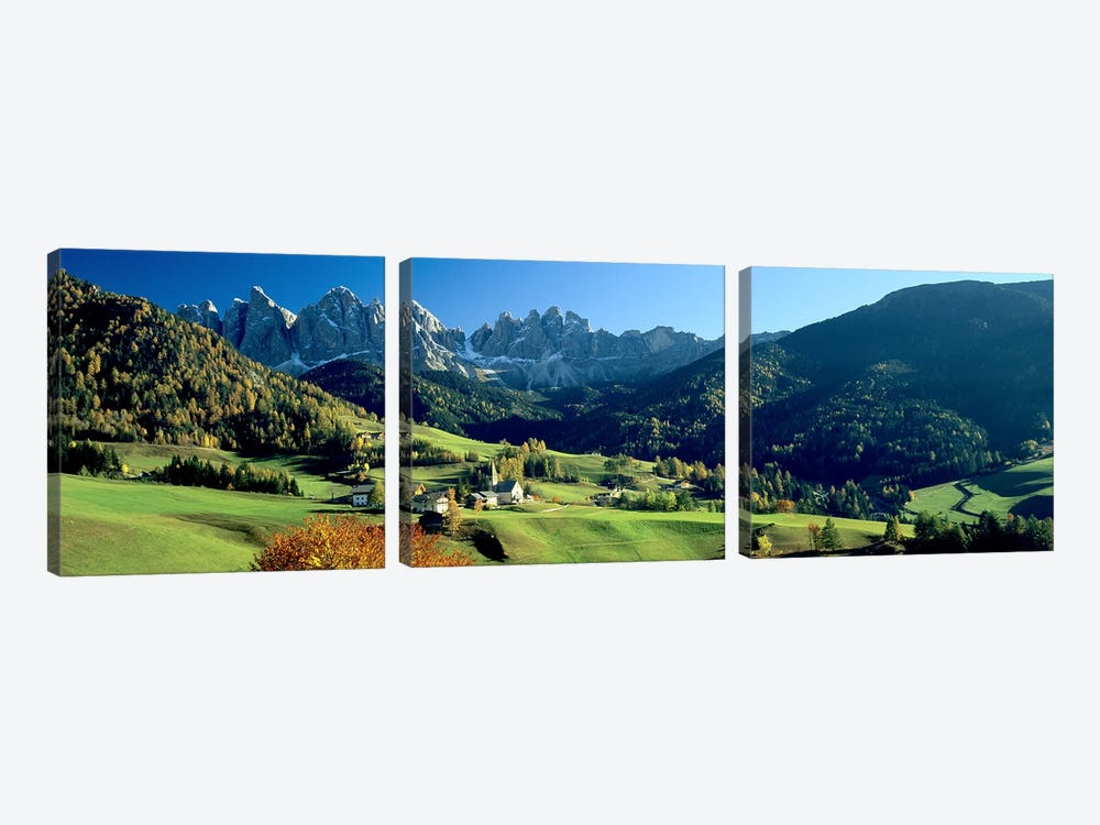 Santa Maddalena, Val di Funes, South Tyrol, Trentino-Alto Adige, Italy by Panoramic Images 3-piece Canvas Wall Art