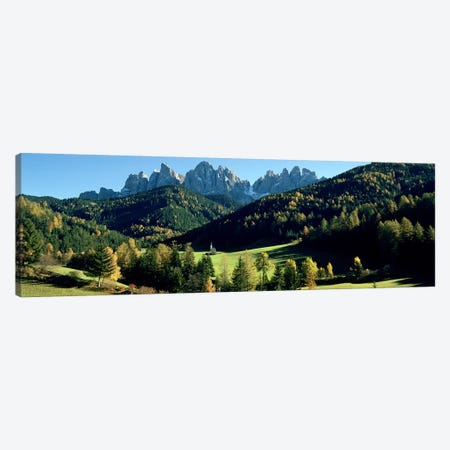 Distant View Of St. Johann (Giovanni) Church, Val di Funes, South Tyrol, Italy Canvas Print #PIM5403} by Panoramic Images Canvas Wall Art