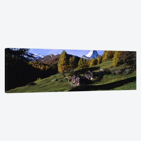Mountainside Cabins, Valais, Switzerland Canvas Print #PIM5404} by Panoramic Images Art Print