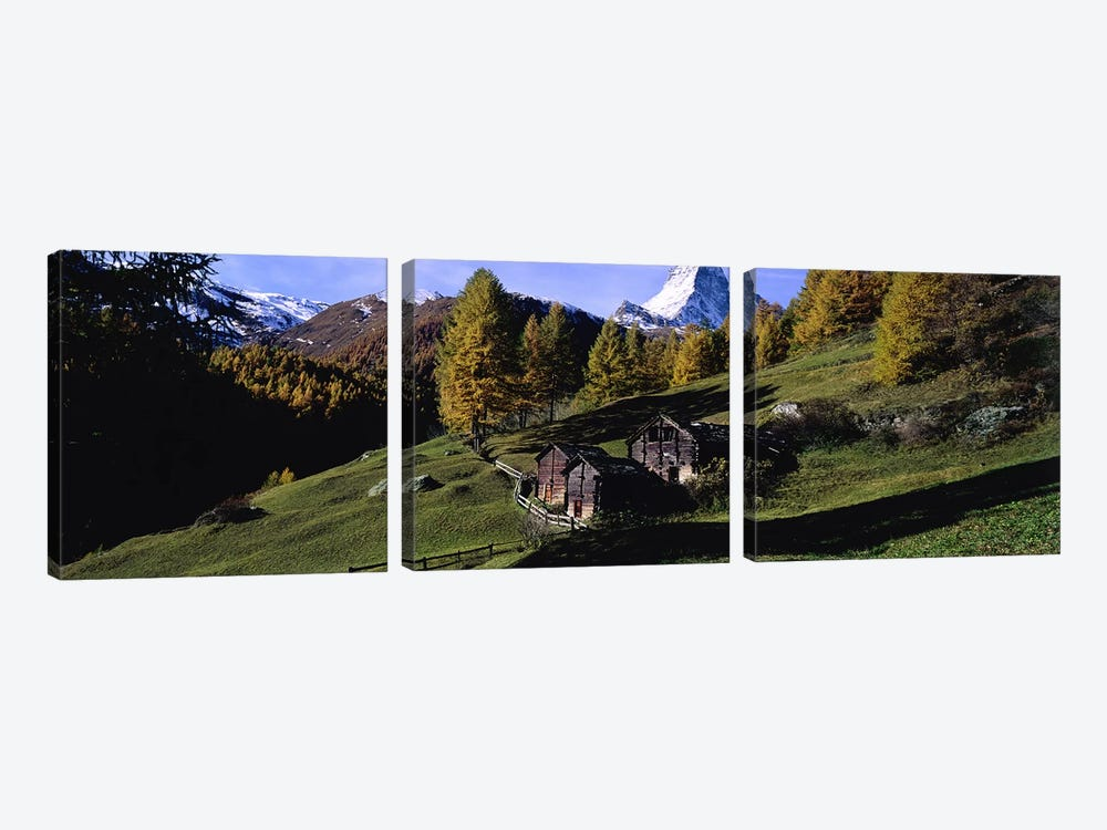 Mountainside Cabins, Valais, Switzerland by Panoramic Images 3-piece Art Print