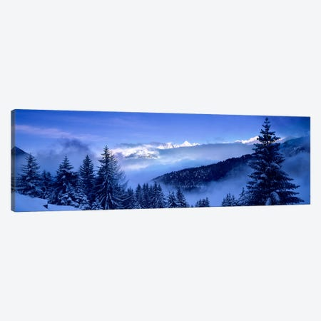 Foggy Winter Day, Simplon Pass, Valais, Switzerland Canvas Print #PIM5409} by Panoramic Images Canvas Artwork