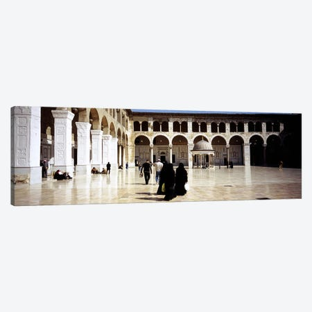 Group of people walking in the courtyard of a mosque, Umayyad Mosque, Damascus, Syria Canvas Print #PIM5413} by Panoramic Images Canvas Art Print