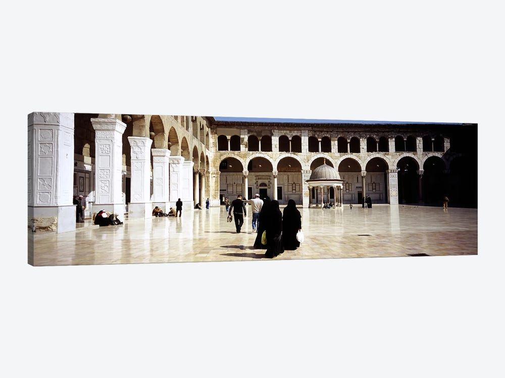 Group of people walking in the courtyard of a mosque, Umayyad Mosque, Damascus, Syria by Panoramic Images 1-piece Canvas Art Print