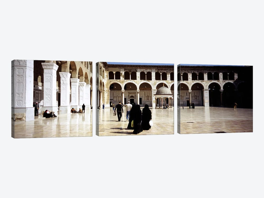 Group of people walking in the courtyard of a mosque, Umayyad Mosque, Damascus, Syria by Panoramic Images 3-piece Canvas Print
