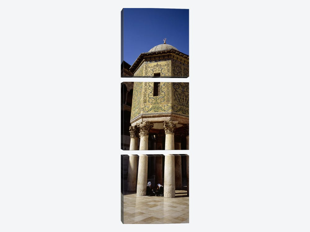 Two people sitting in a mosque, Umayyad Mosque, Damascus, Syria by Panoramic Images 3-piece Canvas Print