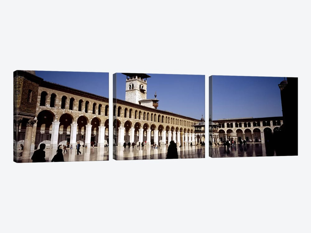 Group of people walking in the courtyard of a mosque, Umayyad Mosque, Damascus, Syria #2 3-piece Canvas Artwork