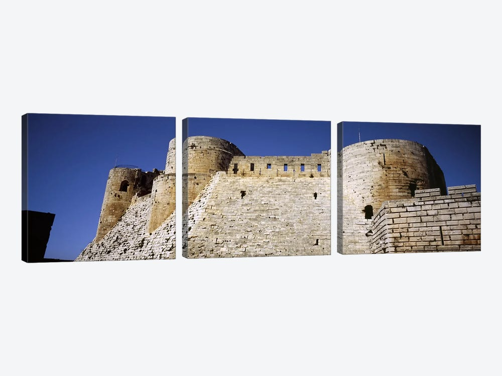Low angle view of a castle, Crac Des Chevaliers Fortress, Crac Des Chevaliers, Syria by Panoramic Images 3-piece Canvas Artwork