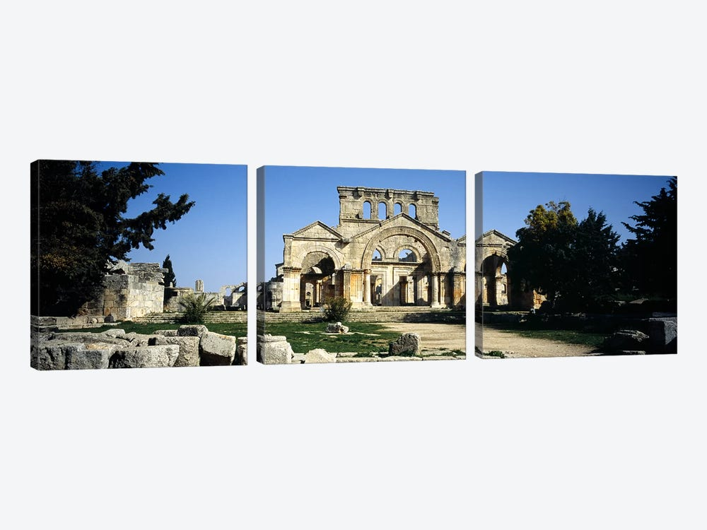 Old ruins of a church, St. Simeon The Stylite Abbey, Aleppo, Syria by Panoramic Images 3-piece Canvas Art Print