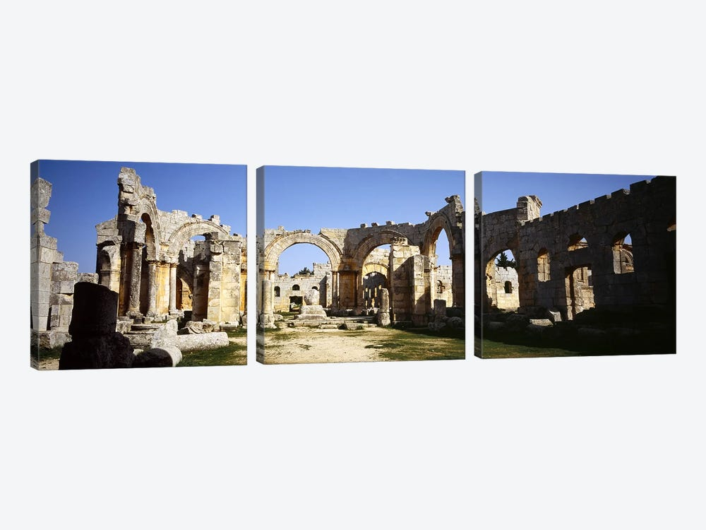 Old ruins of a church, St. Simeon The Stylite Abbey, Aleppo, Syria #2 by Panoramic Images 3-piece Canvas Art