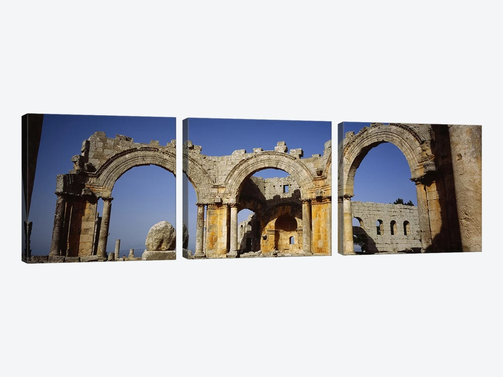 Old ruins of a church, St. Simeon Church, Aleppo, Syria by Panoramic Images 3-piece Canvas Art Print