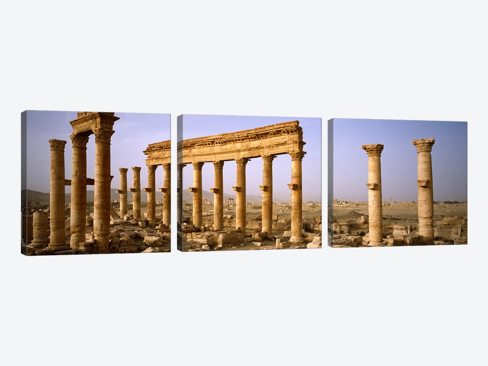 Old ruins on a landscape, Palmyra, Syria by Panoramic Images 3-piece Canvas Art