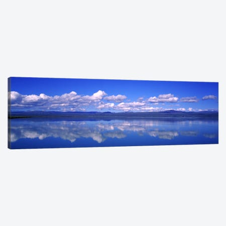 Fluffy Clouds And Their Reflections In The Olfusa, Iceland Canvas Print #PIM5446} by Panoramic Images Art Print