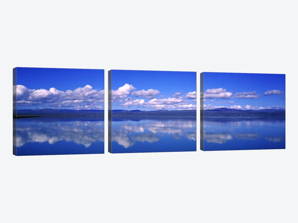 Fluffy Clouds And Their Reflections In The Olfusa, Iceland by Panoramic Images 3-piece Canvas Print