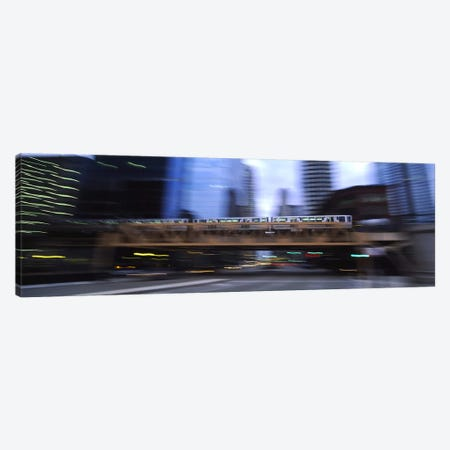 Electric train crossing a bridge, Chicago, Illinois, USA Canvas Print #PIM5449} by Panoramic Images Canvas Wall Art