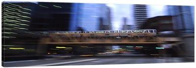 Electric train crossing a bridge, Chicago, Illinois, USA Canvas Print #PIM5449