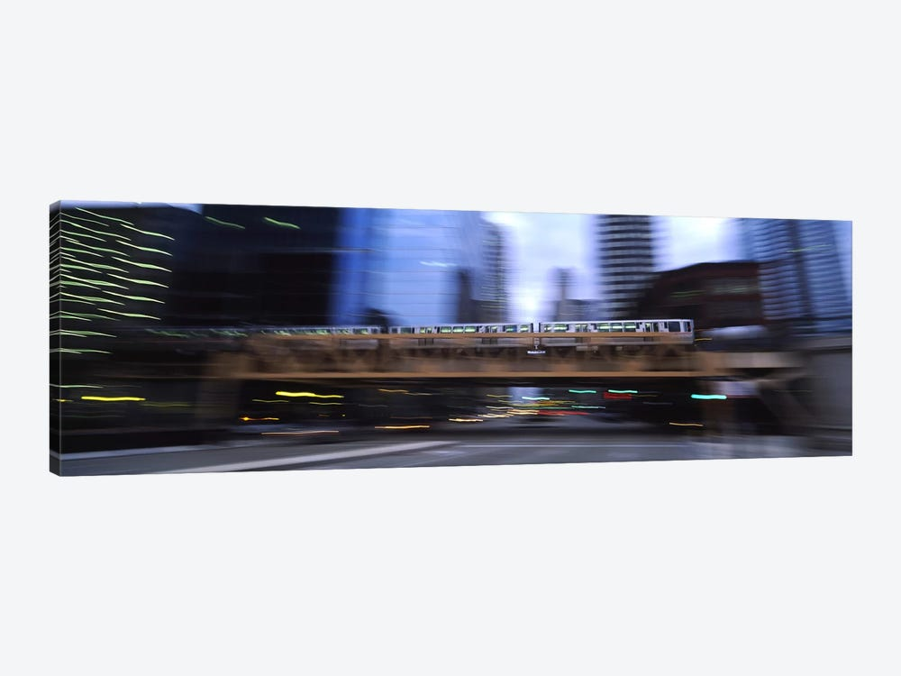Electric train crossing a bridge, Chicago, Illinois, USA by Panoramic Images 1-piece Canvas Wall Art