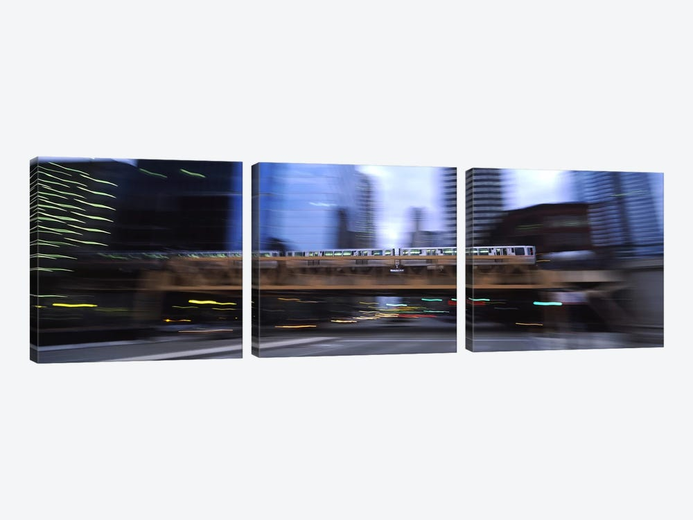 Electric train crossing a bridge, Chicago, Illinois, USA by Panoramic Images 3-piece Canvas Wall Art