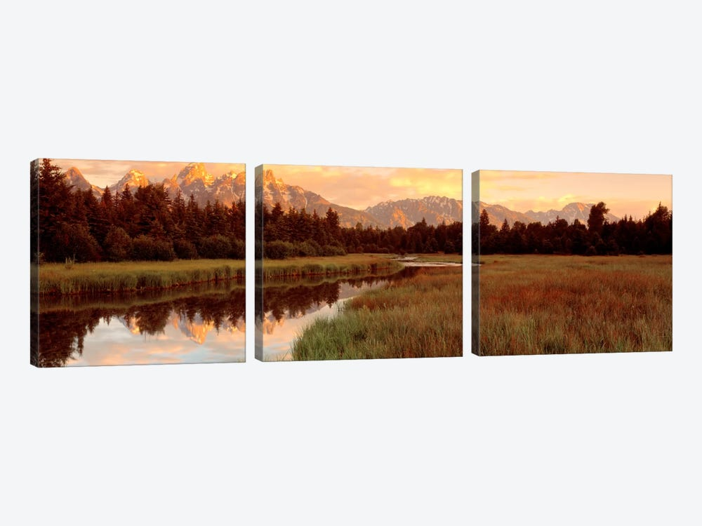 Wilderness Landscape At Sunrise, Grand Teton National Park, Wyoming, USA by Panoramic Images 3-piece Canvas Art